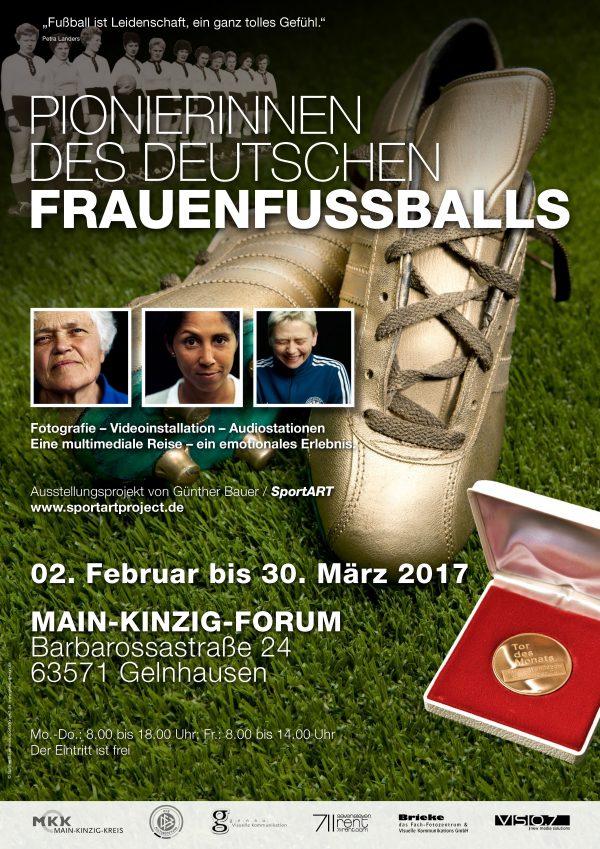 """Ausstellungsplakat zur """"Pionierinnenausstellung"""" im Main-Kinzig-Forum"""" in Gelnhausen."""